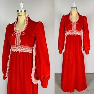 70's Velour Angel Wing Prairie Romantic Maxi Dress